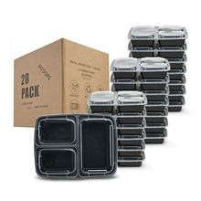 38 Oz Meal Prep 3 Compartment Lunch Containers, 20 Pack Containers Food Storage Bento Box With Lid