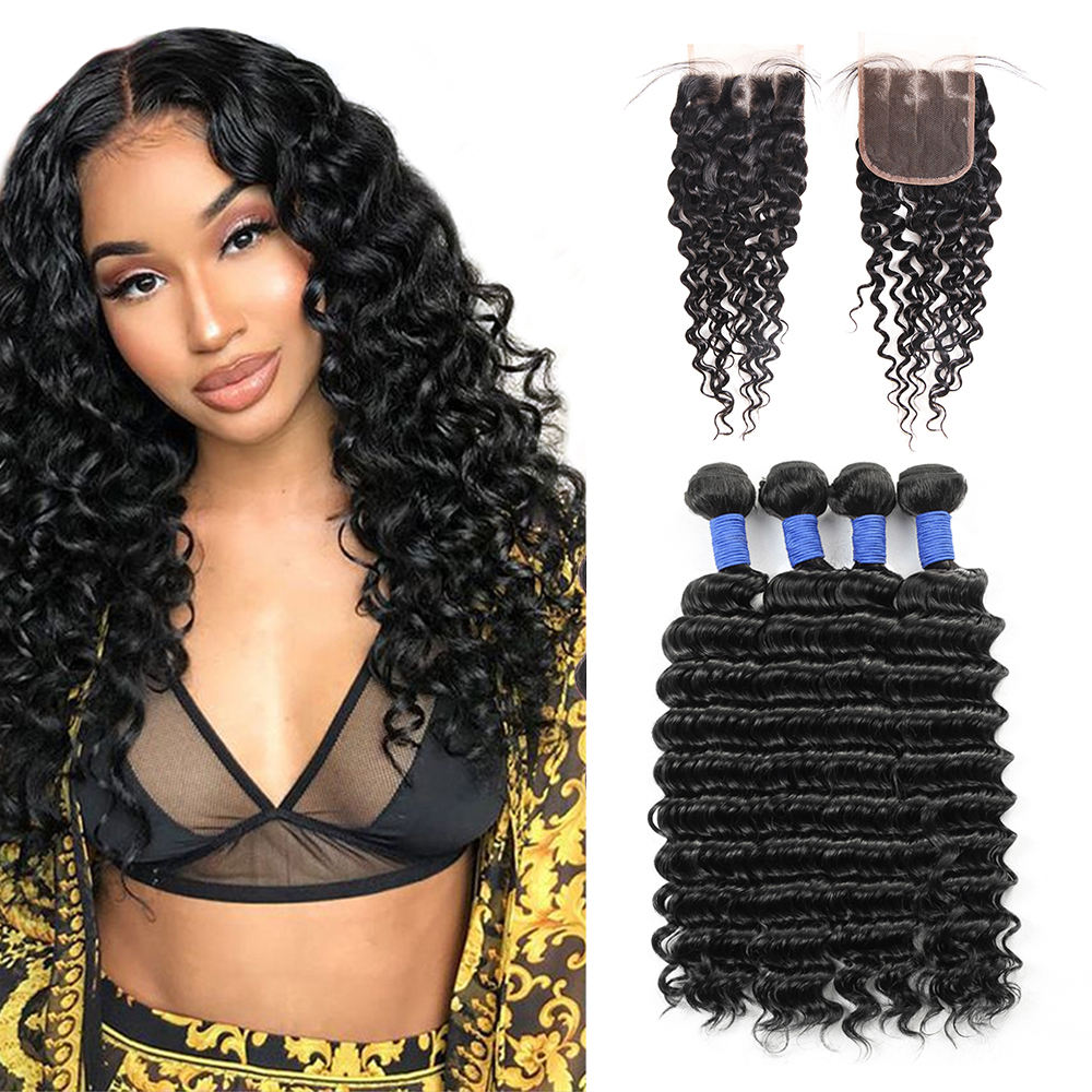 Deep wave human hair with closure 100% Human hair bundles unprocessed cheap price natural black color no shedding