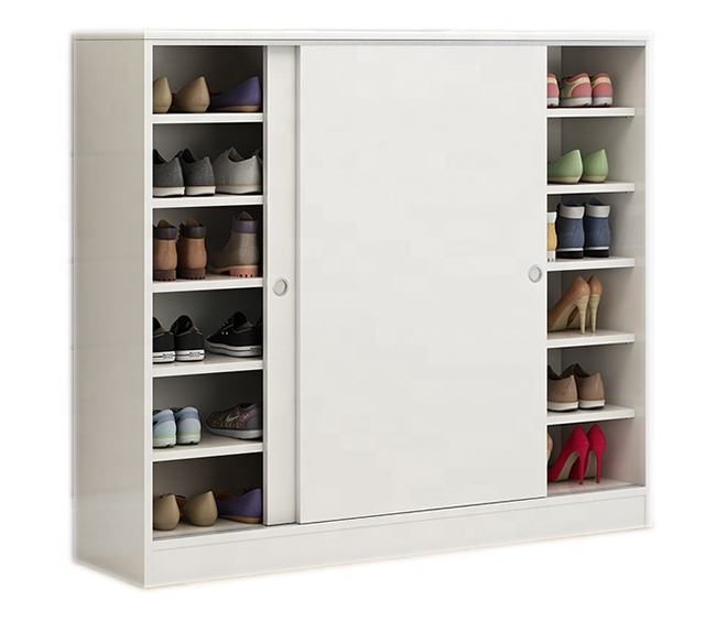 large storage 50 pairs of shoes white sliding door modern wooden shoe cabinet rack