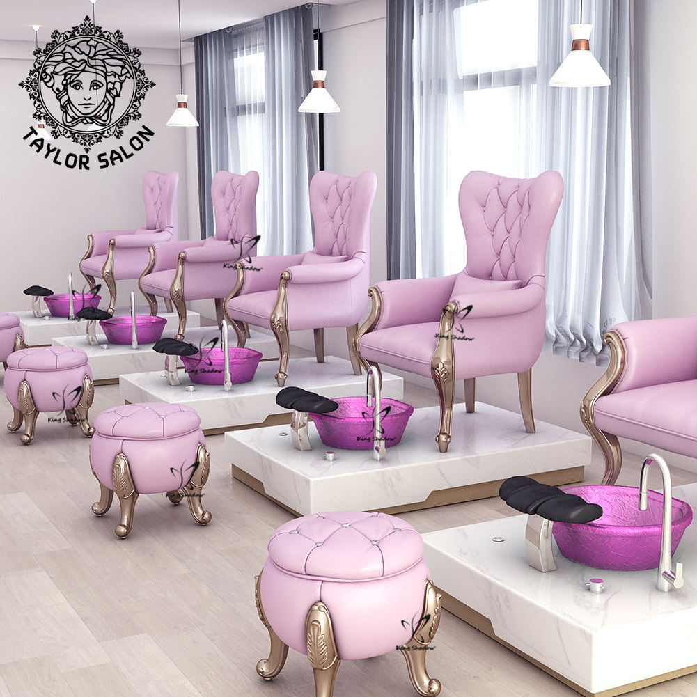 2020 pink kids nail salon equipment furniture luxury throne foot spa chair table manicure pedicure chairs with bowl