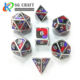 The New Custom YellowRed Black 3 Color Mixed Polyhedron Dice Enamel Metal Dice D&D RPG Game Dice 7pieces Set
