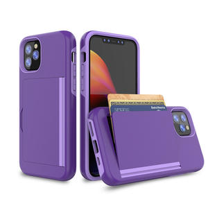 tpu pc cellphone case for iphone 11 pro max with credit card phone case and with phone stand function mobilephone case