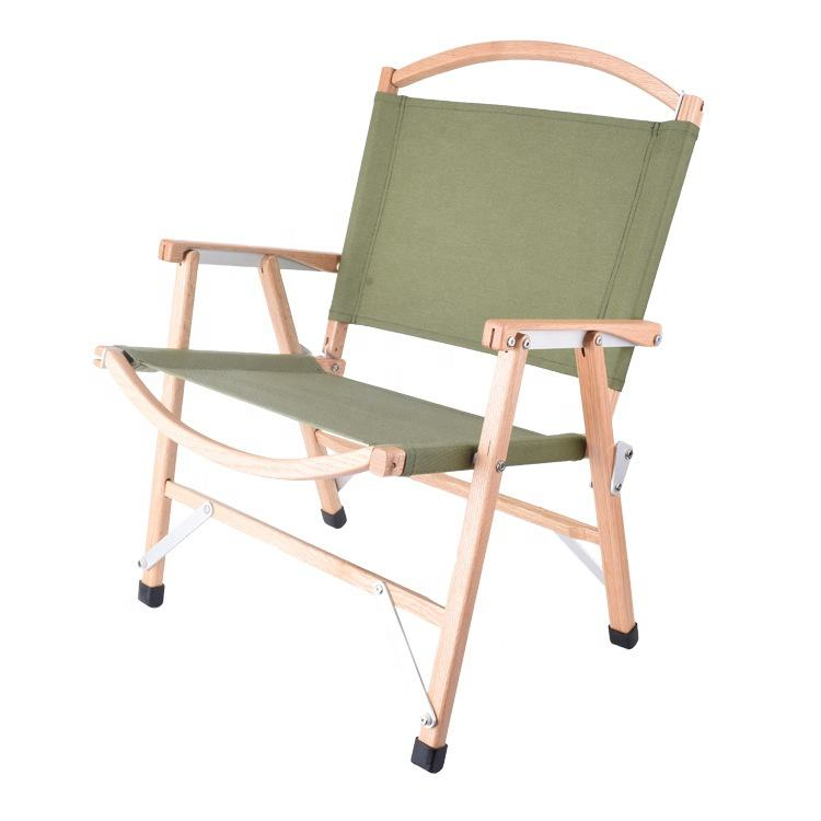 HE-110,Outdoor Beech Wood Folding Camp Picnic Beach Deck Travel Chair Wood Canvas Picnic Chairs With Carry Bag