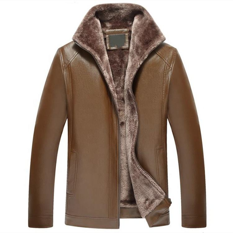 HOOD CREW Men/'s Black Brown Lapel Thick Warm PU Faux Leather Zip-Up Jacket