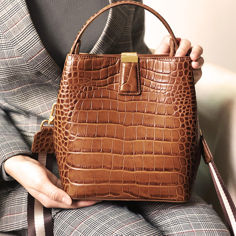 2019 fashion design crocodile genuine leather bucket lady handbags for women casual crossbody bags genuine leather guangzhou