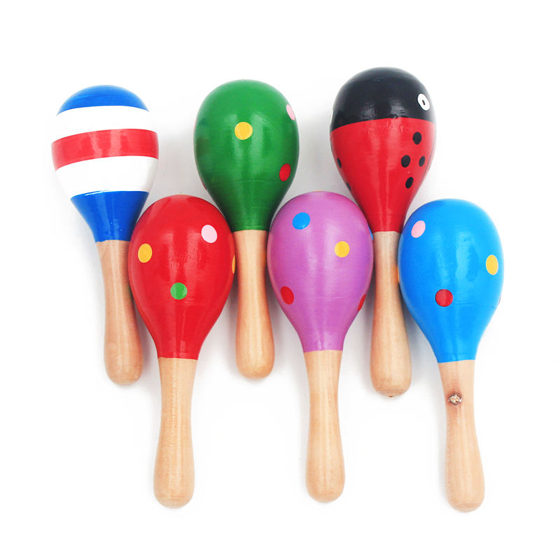 1Pc 12x4cm Infant Toddlers Wood Sand Hammer Wooden Baby Rattles Sand Hammer Kids Musical Party Favor Child Baby Shaker Toy