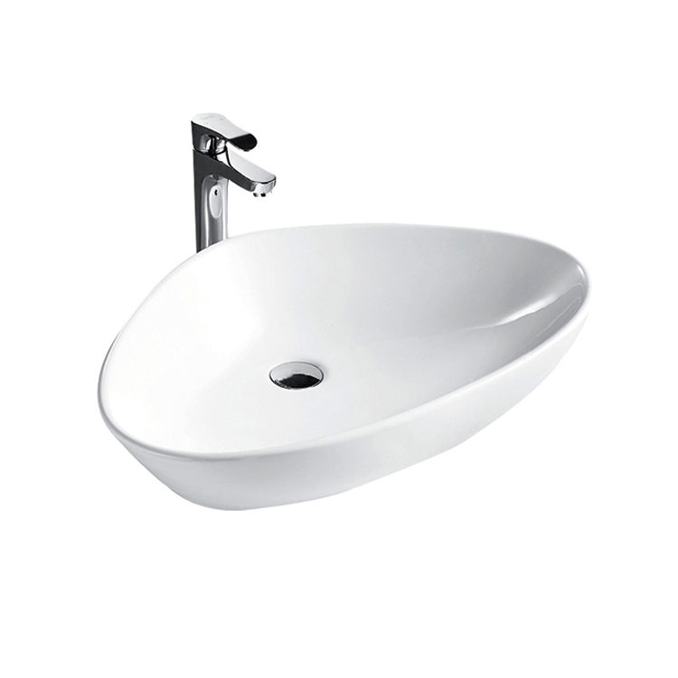 HEGII new design bathroom sanitary ware HC10550-068 glossy white triangle countertop wash basin ceramic art sink