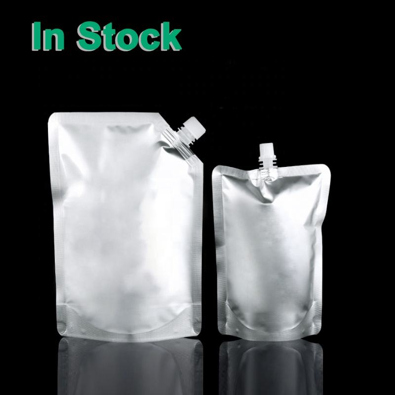 Silver Aluminum Foil Stand Up Liquid Beverage Food Grade Doypack Bag Barrier Packaging Pouch with Top Corner Spout