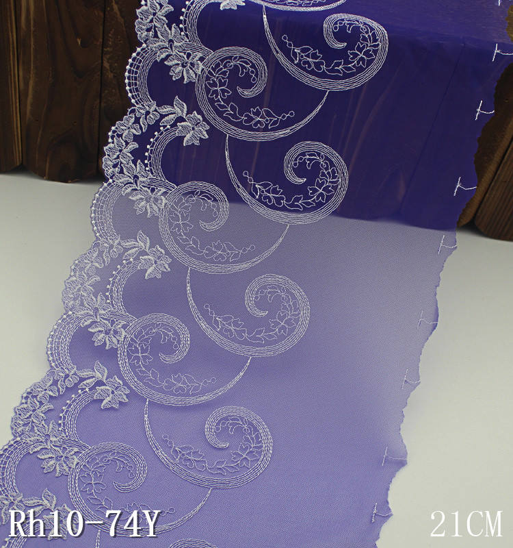 Paisley lace fabric 21cm purple comma pattern embroidery lace