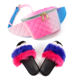 Hot Selling Fluffy Fox Fur Sandals Candy Color Rainbow Waist Bag Jelly Purse and Matching Fur Slides Sets