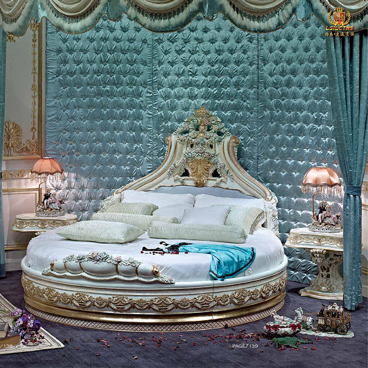 Size Round Bed Classic Style AJJ FA183 Antique Furniture Sets CUSTOM BED King Size Round Bed On Sale