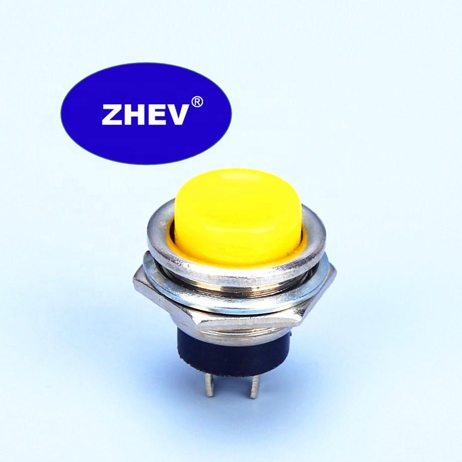 M16 Round Metal Push Switch With Yellow Button NO 3A DS-212