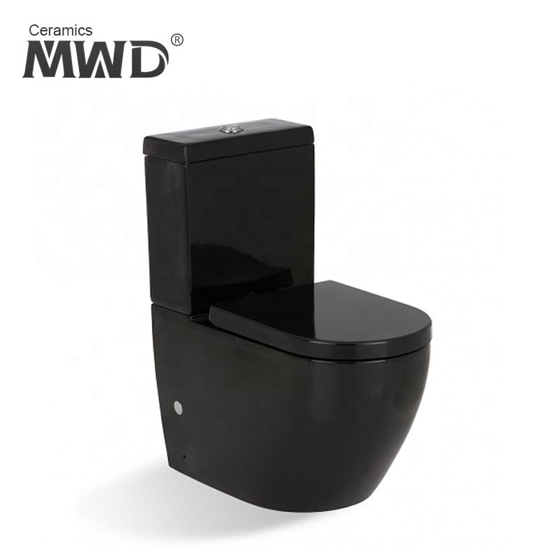 A3970-B washdown flushing black color two piece toilelt with soft close toilet seat