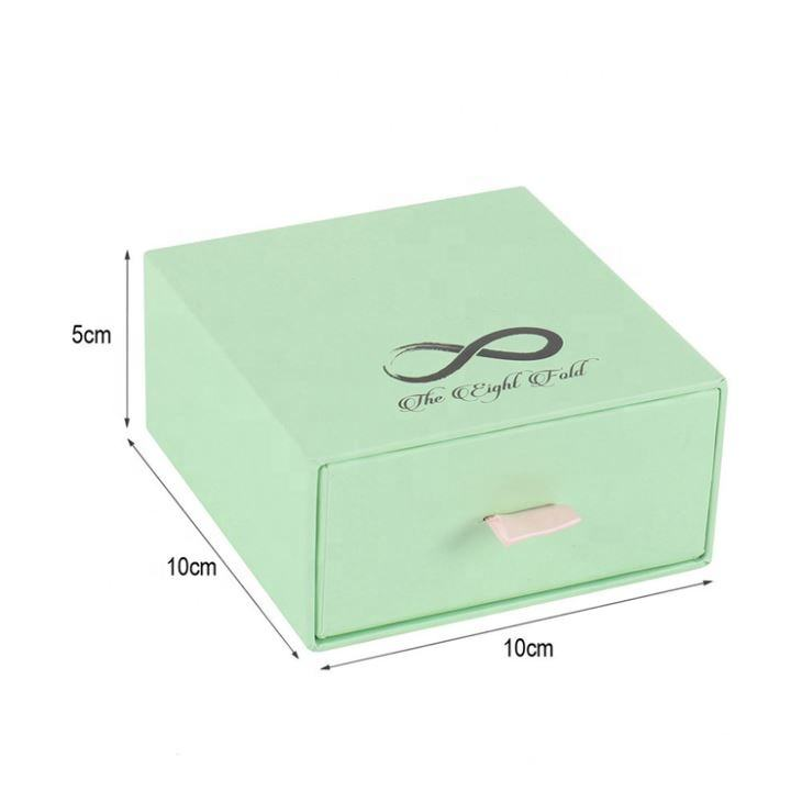Customized Printed Handmade 10*10*5cm Jewelry Paper Gift Box green jewelry packaging box