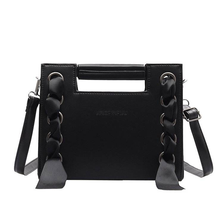 Chic Lady Luxury Handbags Custom MOQ Embossed Logo Leather Small Square Shoulder Bag with Ribbon Weaving