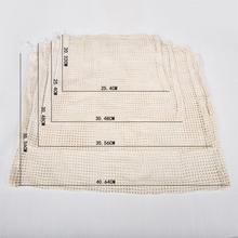Reusable cotton mesh produce bag set drawstring net bag