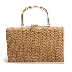 2020 Leshiny paja nuevo cartera bolsos de mimbre hecha a mano tejido viajes de verano de playa de lujo de bolsos de diseñador de Mujeres de Metal,