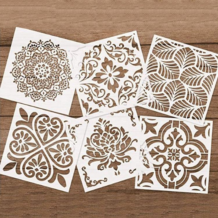 New design 0.25mm eco-friendly plastic stencils flower mandala stencil set