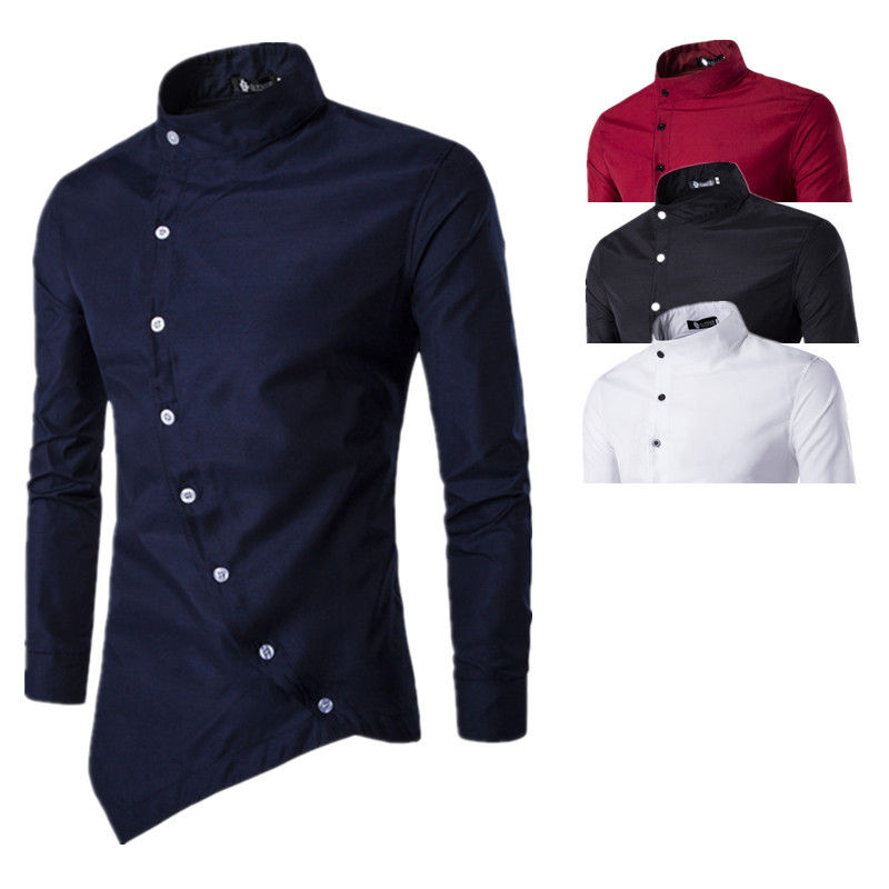 Wholesale Men New Arrival Court Style Oblique Placket Design Shirt Long Sleeve Stand Collar Button Solid Color Casual Shirt