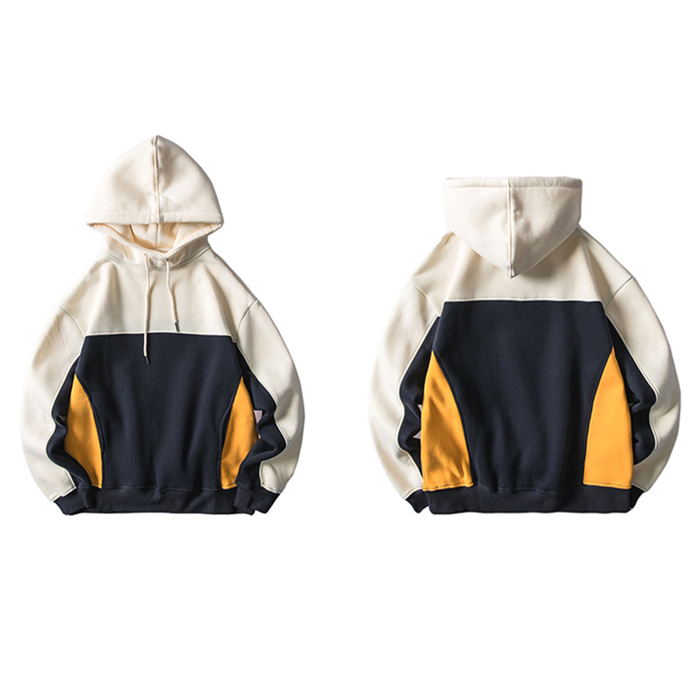 wholesale customs plain bulk high quality fashion mens pullover color block hoodies front pockets sweatshirts with hood