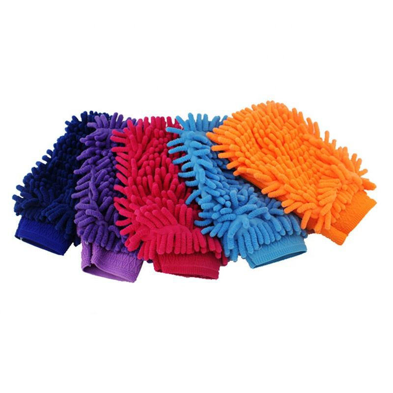 QY Washable Car Washing Cleaning Gloves Tool Car Washer Super Mitt Microfiber Cleaning Cloth Random Color Car Accessories