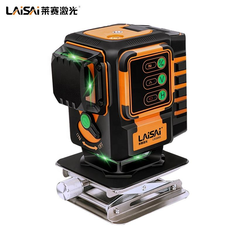 LAISAI laser level LSG665 Output 3*3D 360 Laser Lines Extended Accessory Green-light Self-leveling High Accuracy High-quality