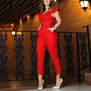 2020 ladies elegant fashion formal jumpsuit Casual Jumpsuits Women Sleeveless adult one piece jumpsuit with long pants belts