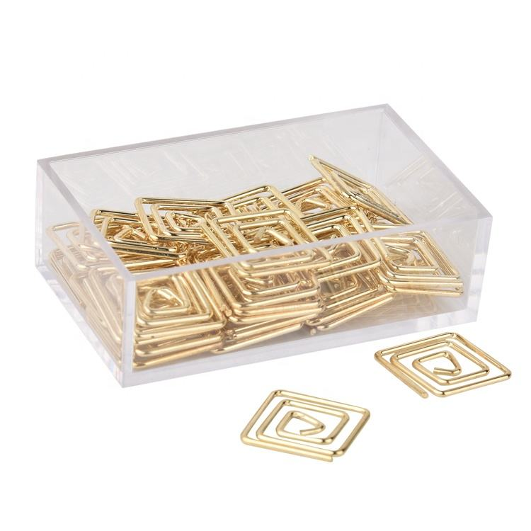 Wholesale Gold Square-shaped paper clips For Office and school