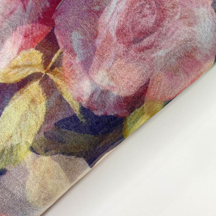 Harvest 100% polyester organza tropical flora print sheer shiny fabric for shirt and dress