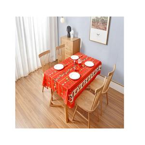 Christmas design for party multipurpose red joyous style polyester printed tablecloth waterproof customized