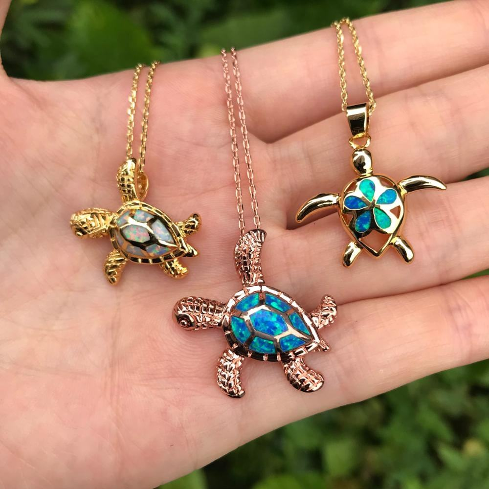 LS-D586 유니콘 Opal Turtle Necklace Fantasy Kids Jewelry 우아한 Opal Charm 목걸이