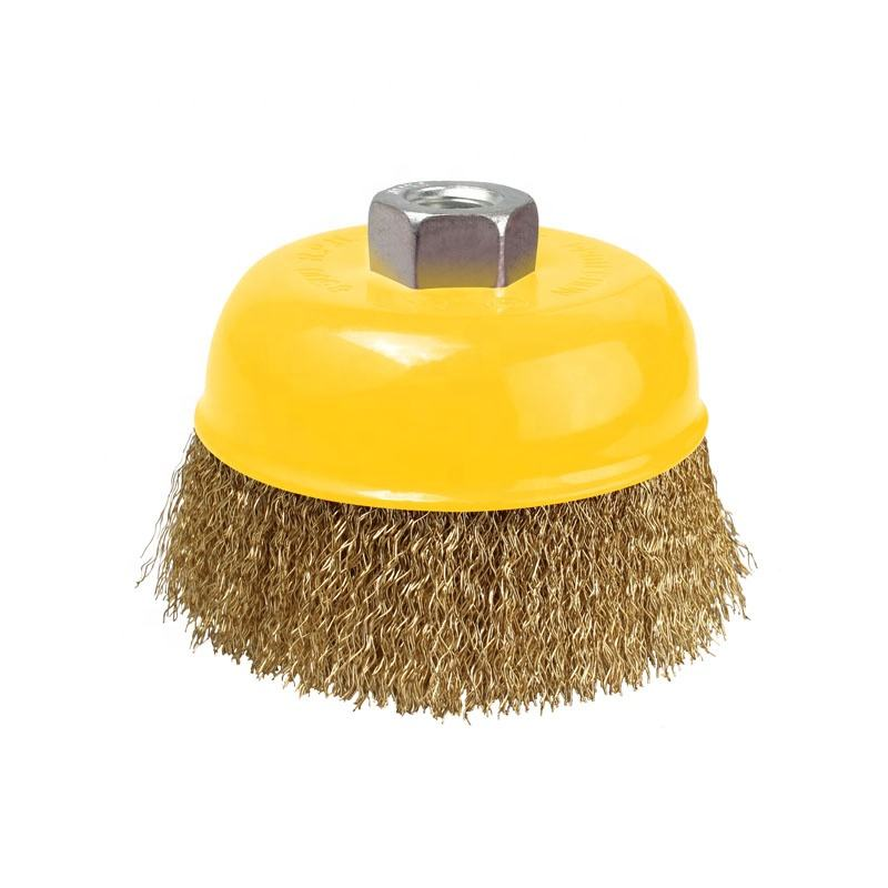 "Hot sale 4"" Crimped wire cup brush for clean and polish metal surface"