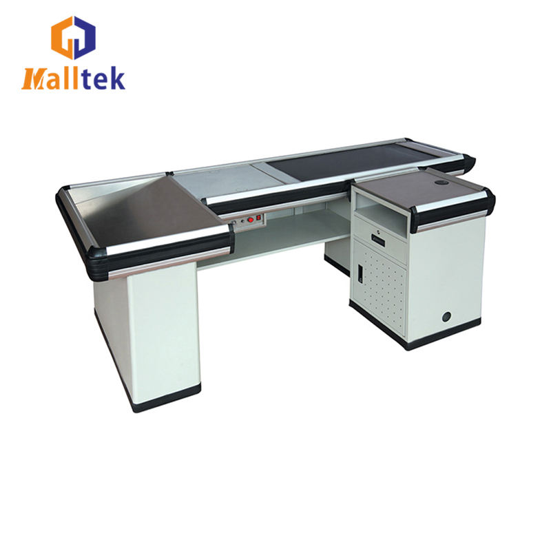 L Type Stainless Steel Checkout Counter Table Used In Supermarket