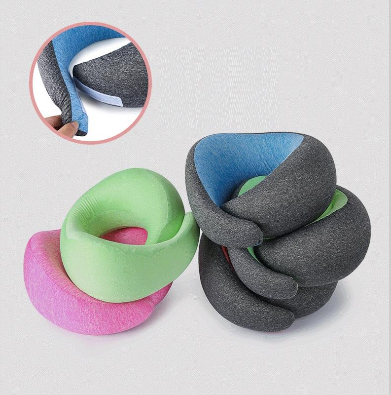 Memory Foam Neck Pillow Soft & Breathable Cover Machine Washable Airplane Travel Kit U Shaped Neck Pillow