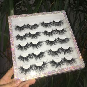 Fashion Rhinestone eyelash book 10 Pair 16 pair100% real mink eyelash 25MM LASHES packing box
