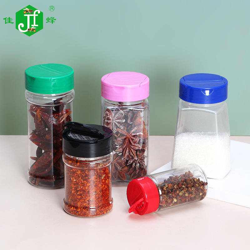 2020 Popular sales empty spice jars plastic bottles Clear plastic 100 ml PET salt shaker