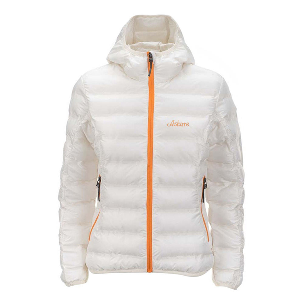 Winter high quality down puffer jacket warm hooded zipper ladies down jacket