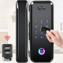 Single double door free opening smart electronic access control lock remote control code IC Card fingerprint glass door lock
