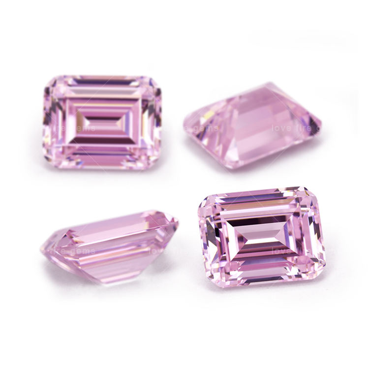 5A grade synthetic cz gemstones 5*7mm 6*8mm octangle shape emerald cut light pink loose cubic zirconia