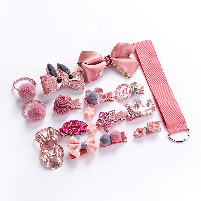 Seaygift New arrival 2020 18pcs/set baby girls hair accessories set kids hair bow clips accessory gift set for baby