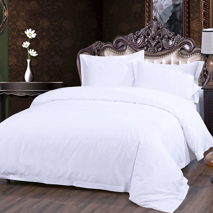 Luxury Egyptian Cotton Satin Bed Linen White Queen Size Hotel Bedding Set