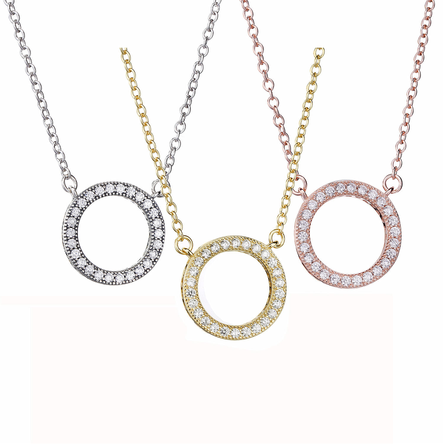 Quality assurance gold silver rose gold pendant necklace fashion Pave Circle Collier Necklace