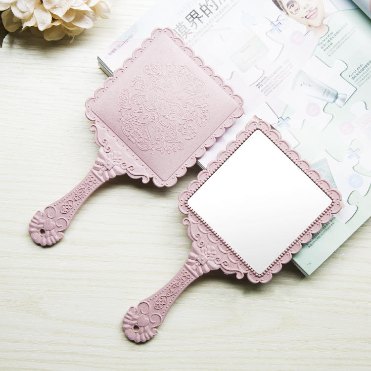 Latest Fashion Makeup Mirror for Promotion Square Plastic Hand ABS Small Salon Hand Held Makeup Mirror