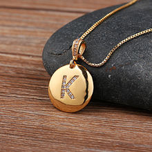 Top Quality Women Girls Gold 26 Letters Initial Necklace Letter Pendant Copper Jewelry Personalized Necklace