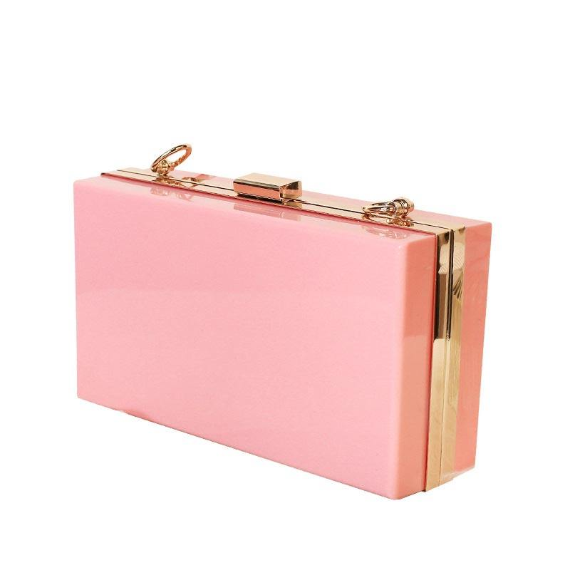 Wholesale Women Acrylic Clutch Bag Purse Pink