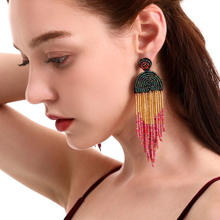 Kaimei new Original hypoallergenic ethnic earrings hand-beaded colored bead bohemian multi-layer seed beads long tassel earrings
