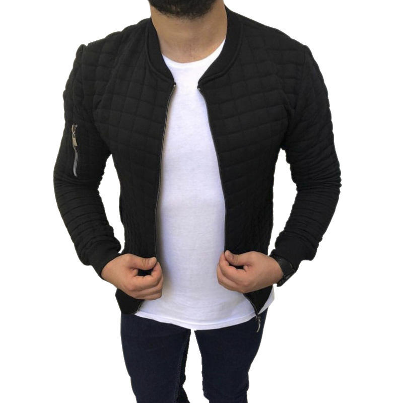 40/5000 New European and American men's jacket with slim, casual and fashionable sports coat Long sleeve Solid color