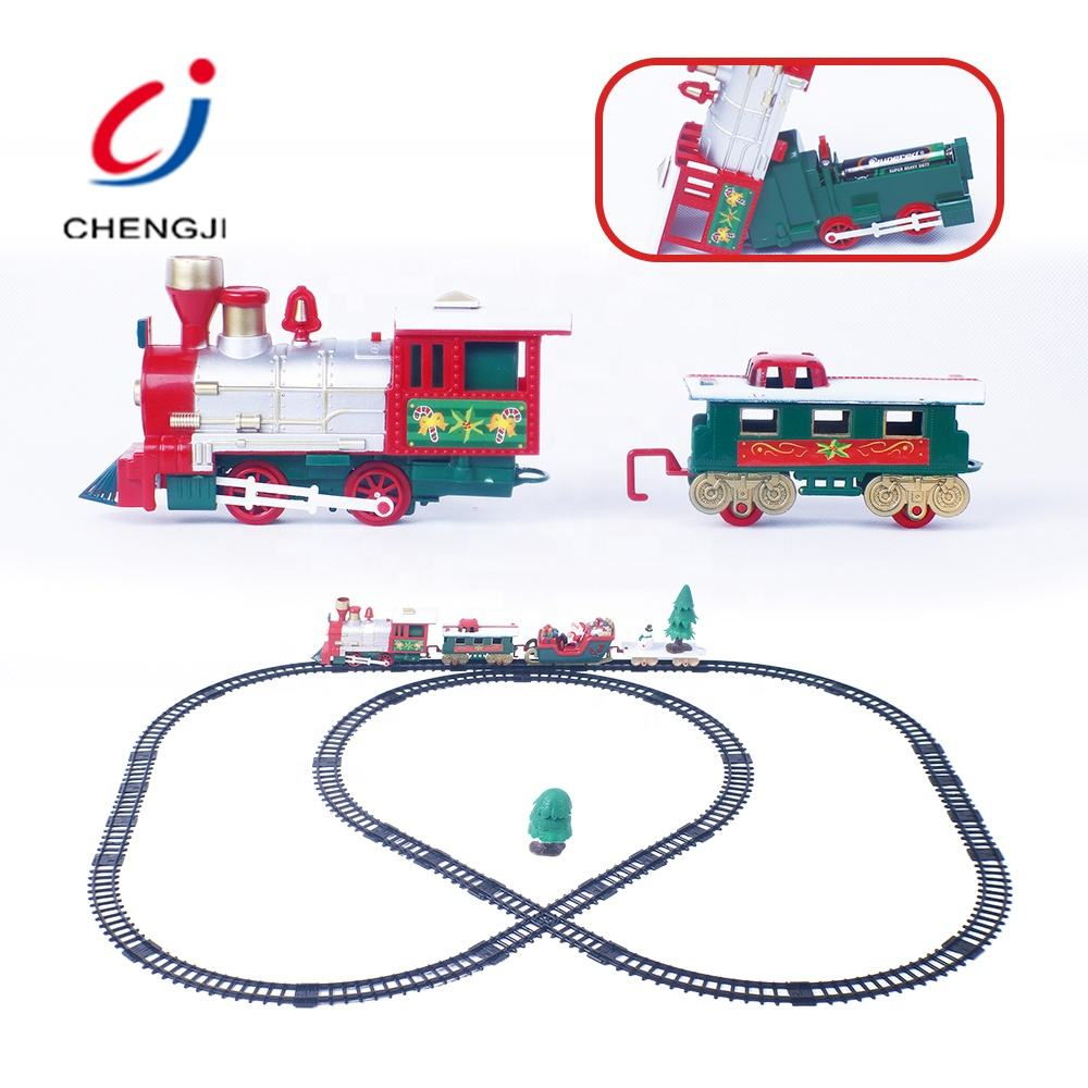 Electric educational plastic children music rotation light train on track toy