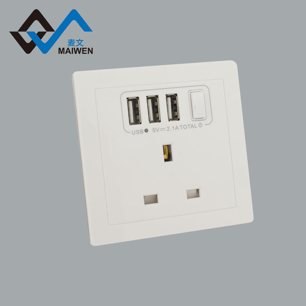 Multi-function British Hong Kong 5v2.1a 3 usb electrical plugs socket with switch