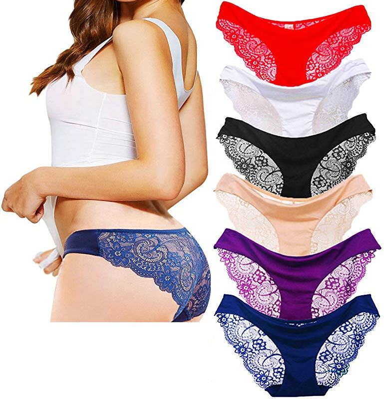 hottest sale Women panties Ladies Briefs Ice Silk Sexy Lace Panties Seamless Transparent Underwear lingerie
